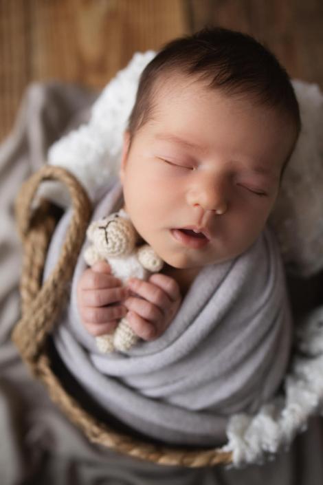 Baby mit Schaf beim Fotoshootings